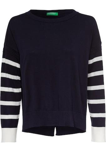 United Colors of Benetton Strickpullover »Pullover«, mit gestreiften Ärmeln kaufen