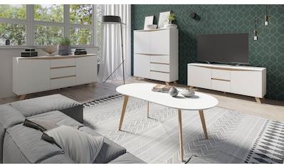 Homexperts Couchtisch »Madlina«, ovale Tischpatte in weiß-matt, Maße (B/T/H) ca.... kaufen