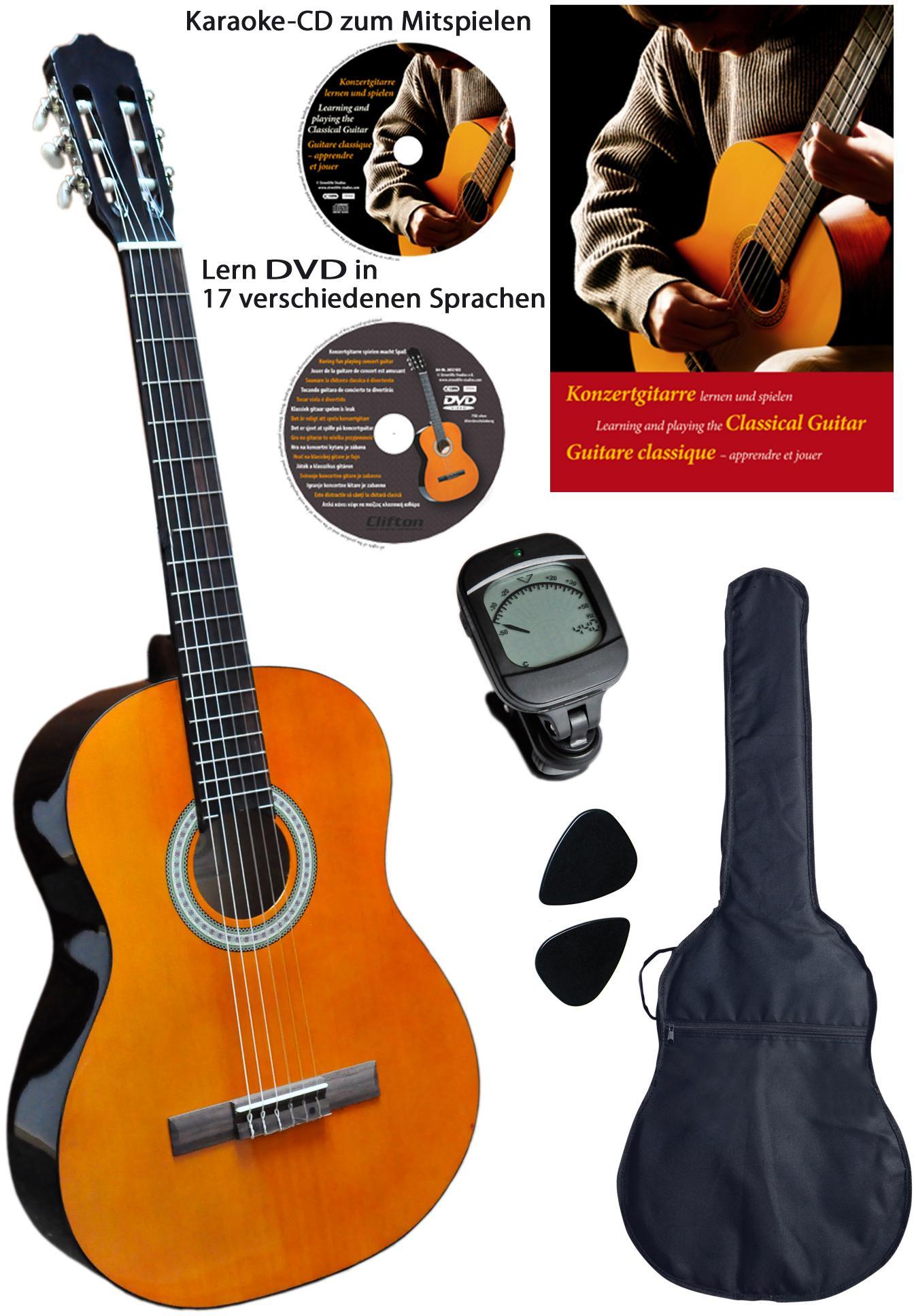 Clifton Konzertgitarre Clifton-Konzertgitarre, 3/4, Komplettset beige Audio SOFORT LIEFERBARE Technik
