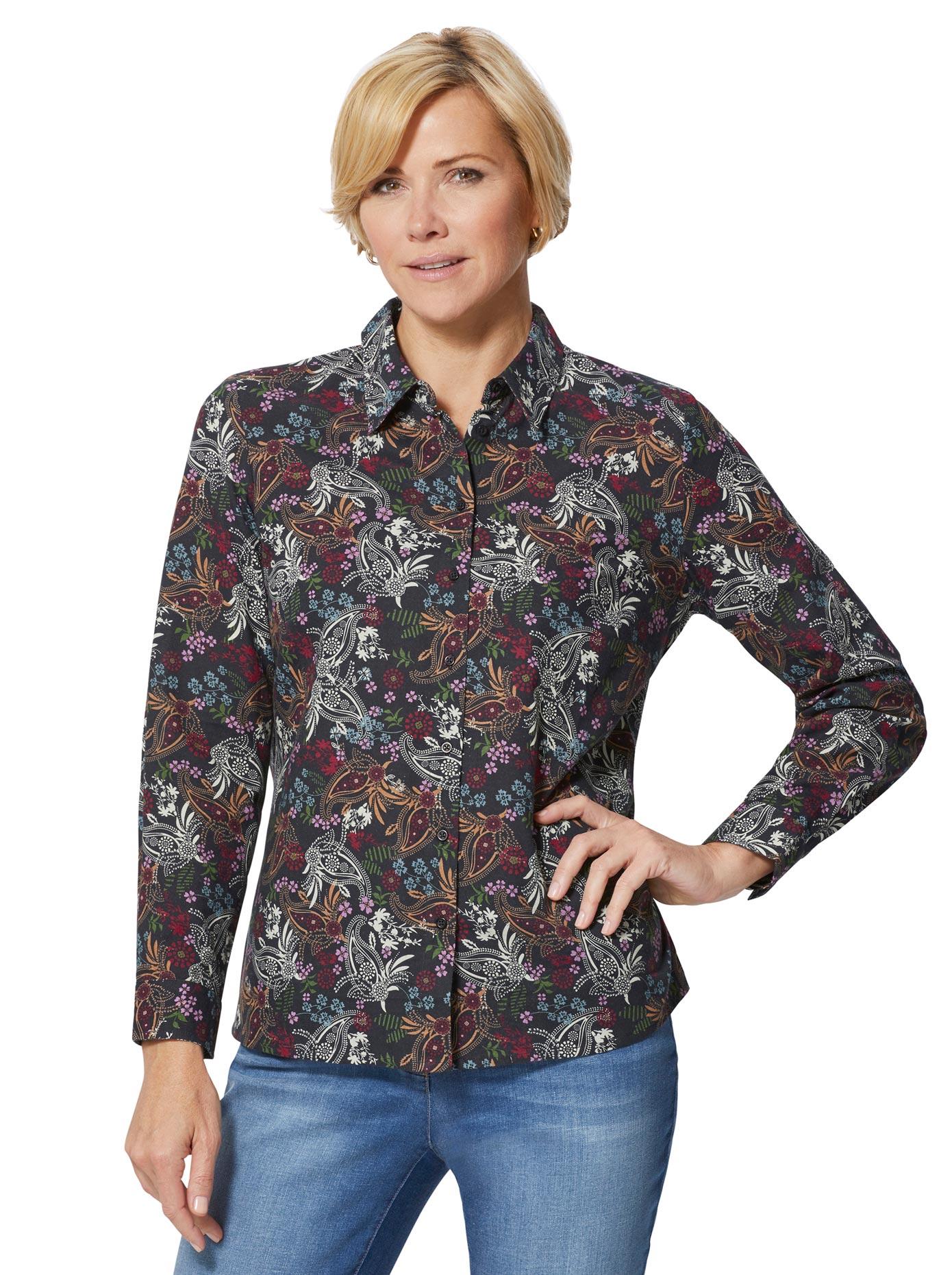 Classic Basics Bluse mit einem Muster-Mix aus Blümchen und Paisley-Ornamenten