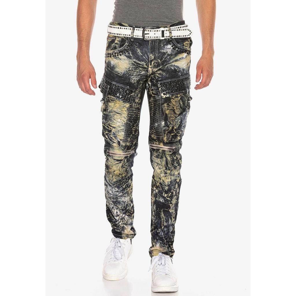 Cipo & Baxx Bequeme Jeans, mit Edelstein Taschen in Regular Fit
