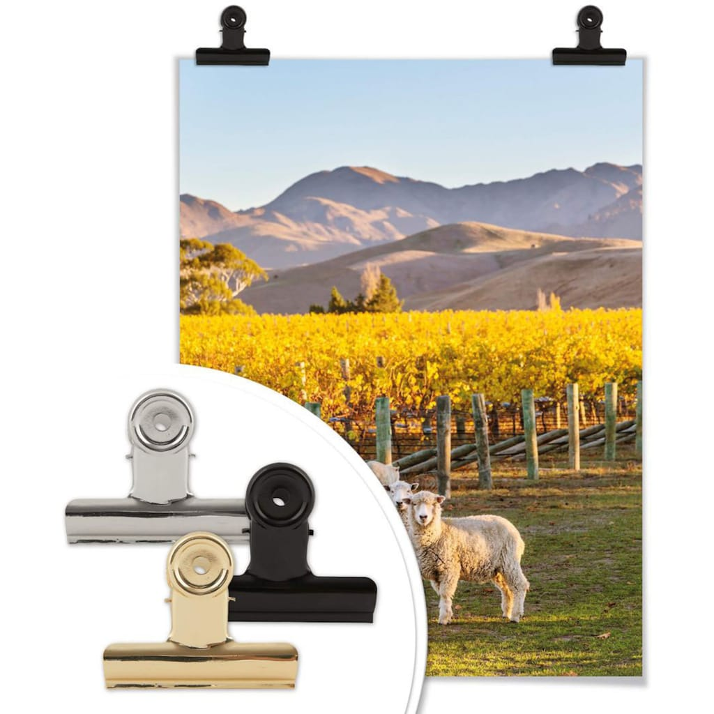Wall-Art Poster »Sonnenuntergang Berge«, Sonnenuntergang, (1 St.), Poster, Wandbild, Bild, Wandposter