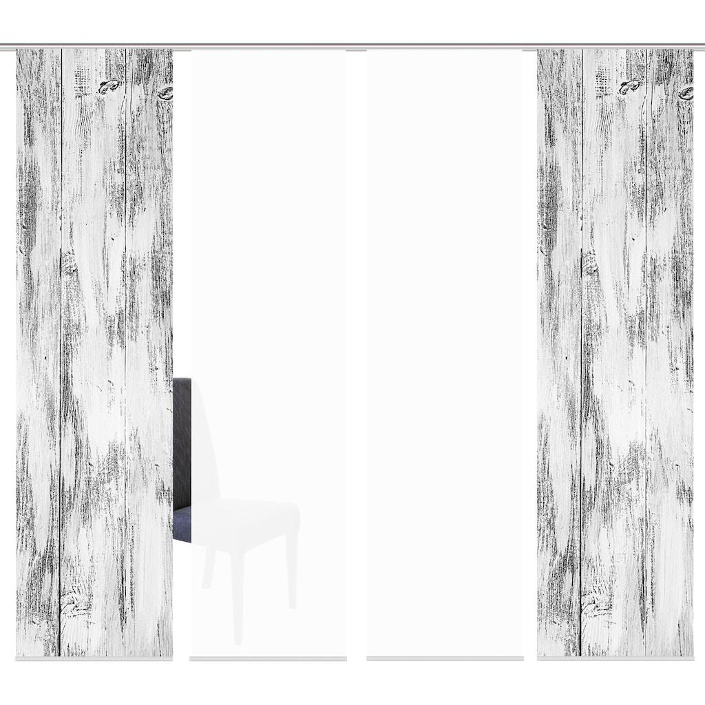 HOME WOHNIDEEN Schiebegardine »HOLARI 4er SET«, Dekostoff-Seidenoptik, Digital bedruckt