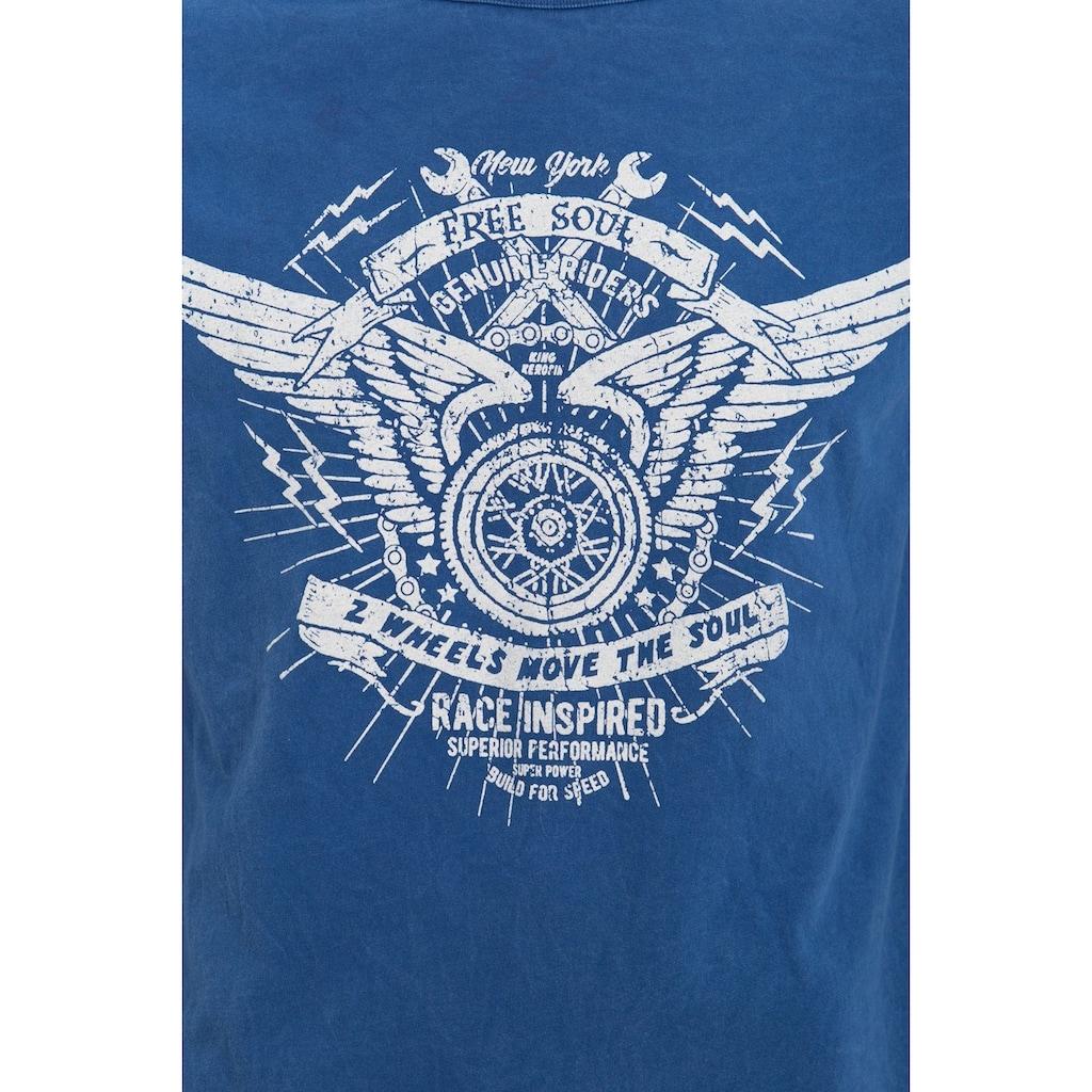KingKerosin T-Shirt »free soul«, mit Marble-Effect Waschung und Print