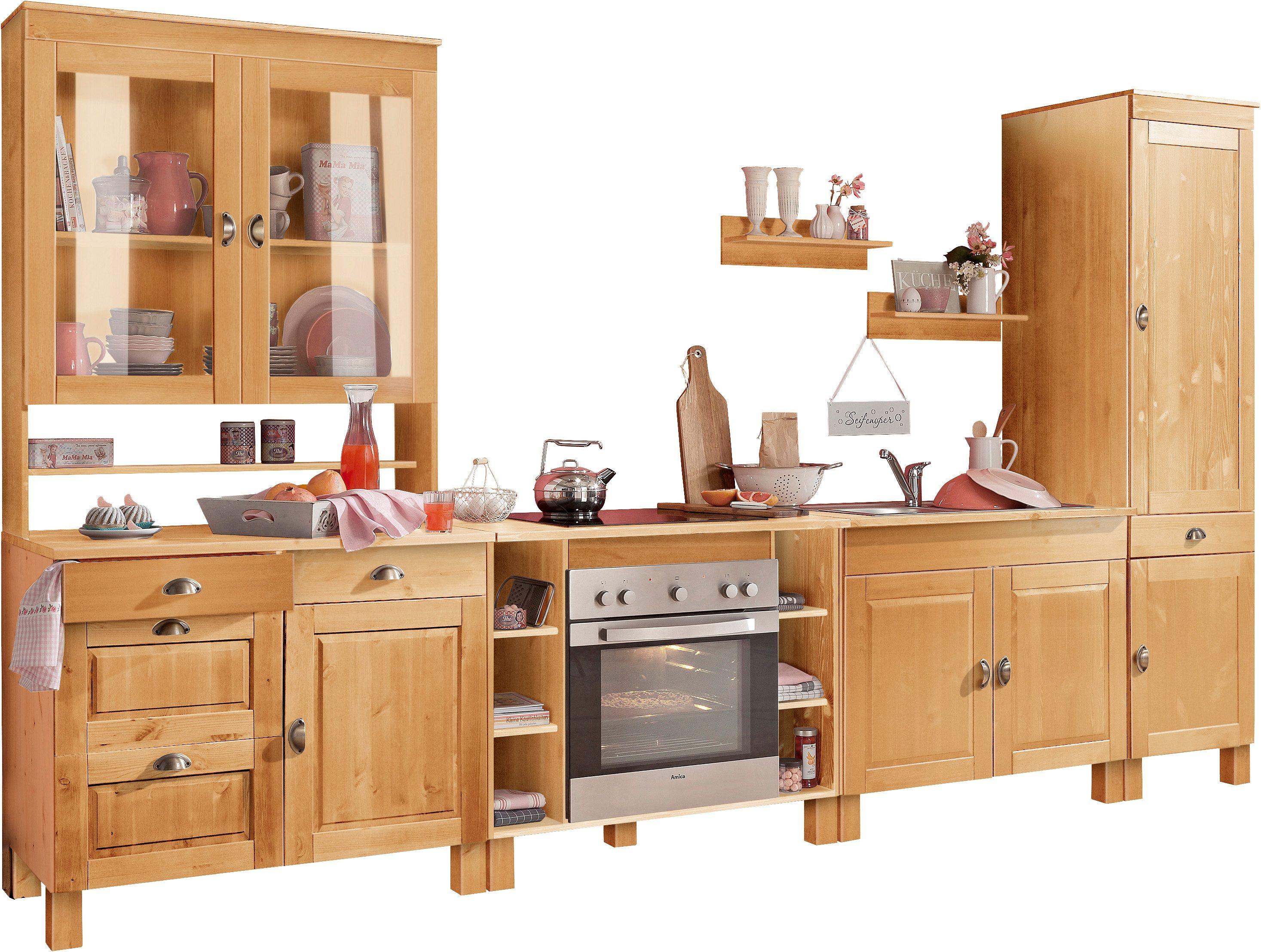 Home affaire Küchen-Set »Oslo«, (7-tlg), ohne E-Geräte, aus massiver  Kiefer, 23 mm starke Arbeitsplatte bestellen | BAUR