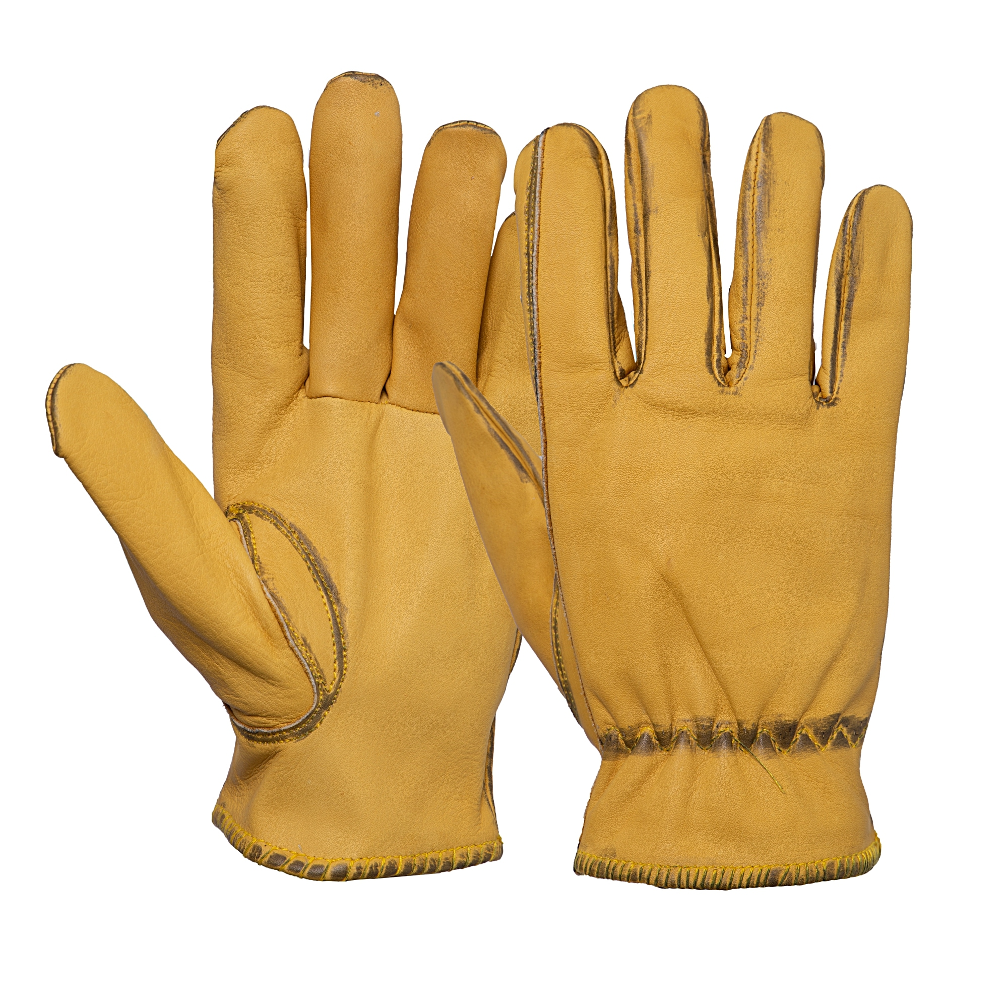 KingKerosin Lederhandschuhe, im Vintage-Look gelb Damen Fingerhandschuhe Handschuhe Accessoires Lederhandschuhe