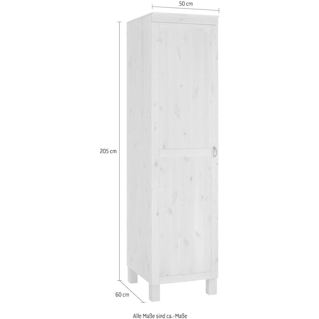 Home affaire Hochschrank »Oslo«, 50 cm breit, 205 cm hoch, 1 Tür, 4 Fächer, aus massiver Kiefer, Metallgriff