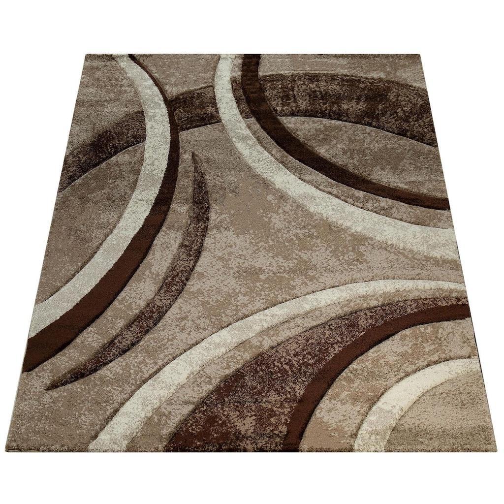 Paco Home Teppich »Brillance 758«, rechteckig, 18 mm Höhe, Kurzflor mit geometrischem Design, Wohnzimmer