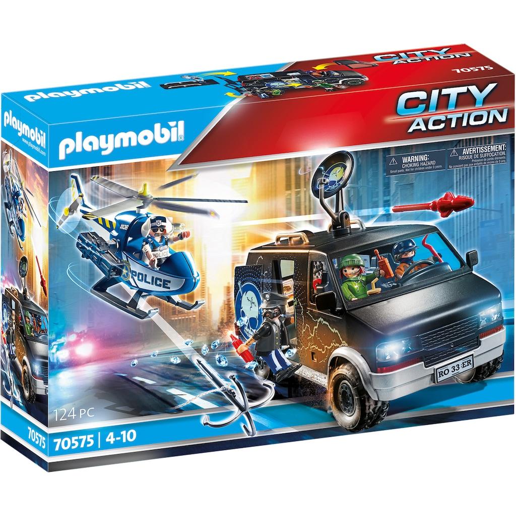 Playmobil® Konstruktions-Spielset »Polizei-Helikopter: Verfolgung des Fluchtfahrzeugs (70575), City Action«, (124 St.), Made in Germany