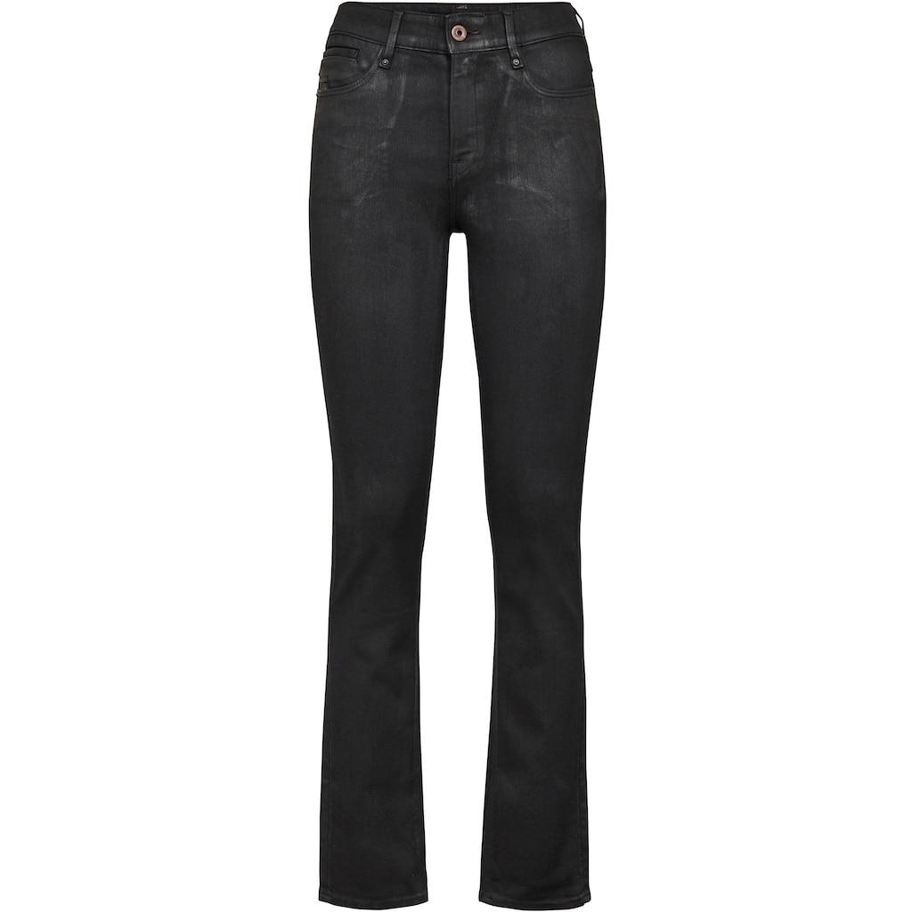 G-Star RAW Straight-Jeans »Noxer Navy High Straight Jeans«, mit Umschlagsaum und Logodruck