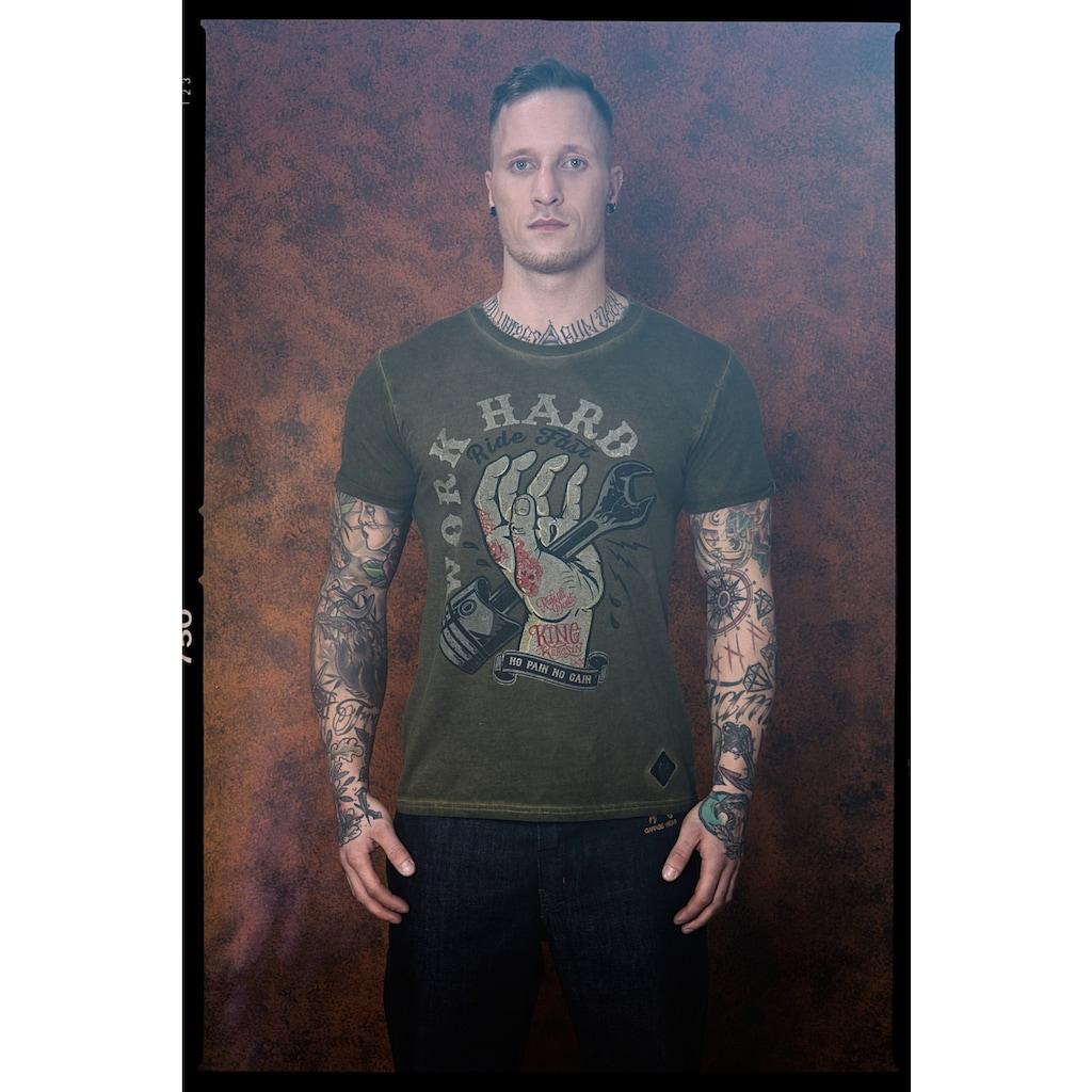 KingKerosin Print-Shirt »Work Hard«, im Used-Look