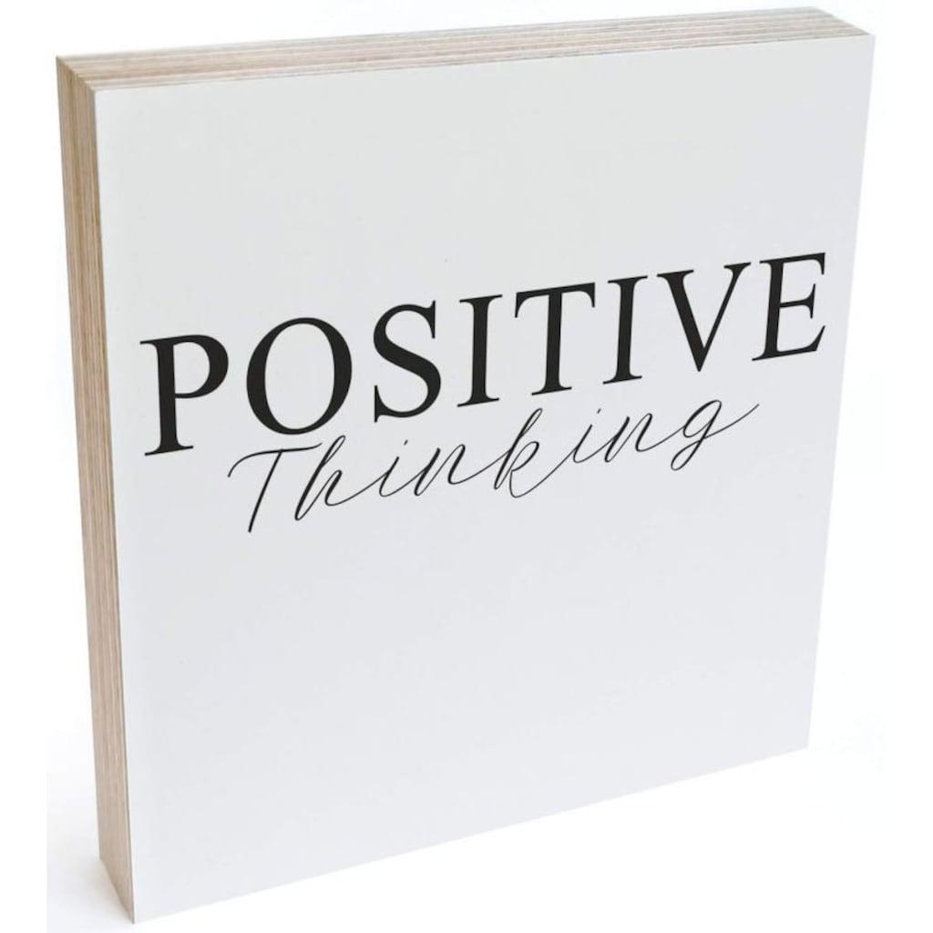 Wall-Art Holzbild »Tischdeko Positive Thinking«, (1 St.)