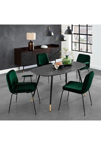 andas Esstisch »Stege«, in Marmoroptik, ovale Tischplatte, Design by Morten Georgsen kaufen
