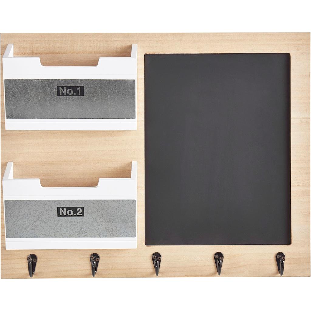 andas Memoboard, mit Tafel, Aufbewahrungsfächer und 5 Haken