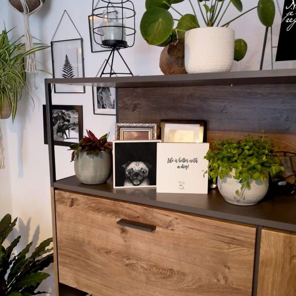 Wall-Art Holzbild »Tischdeko Graves Snuggle Pug«, (1 St.)