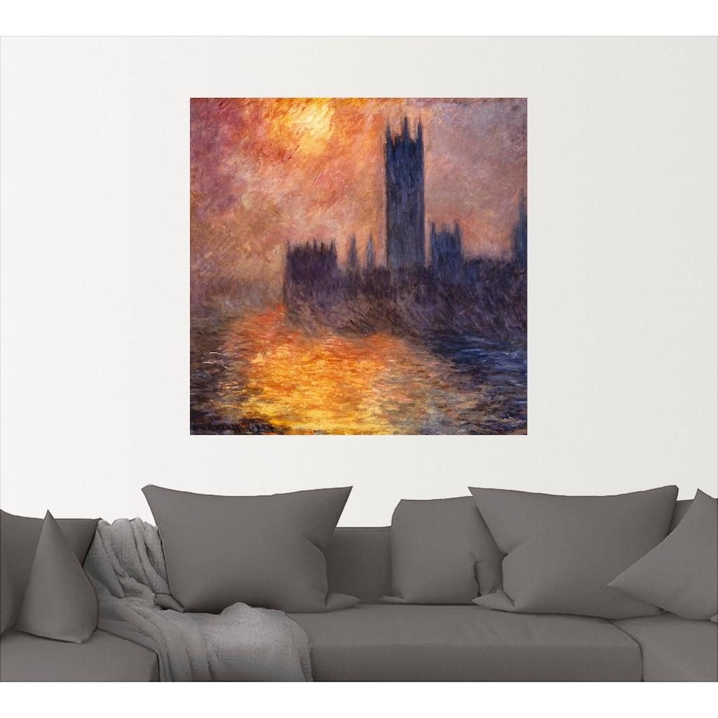 Artland Wandbild »Parlament in London bei Sonnenuntergang«, Sonnenaufgang & -untergang, (1 St.), in vielen Größen & Produktarten -Leinwandbild, Poster, Wandaufkleber / Wandtattoo auch für Badezimmer geeignet