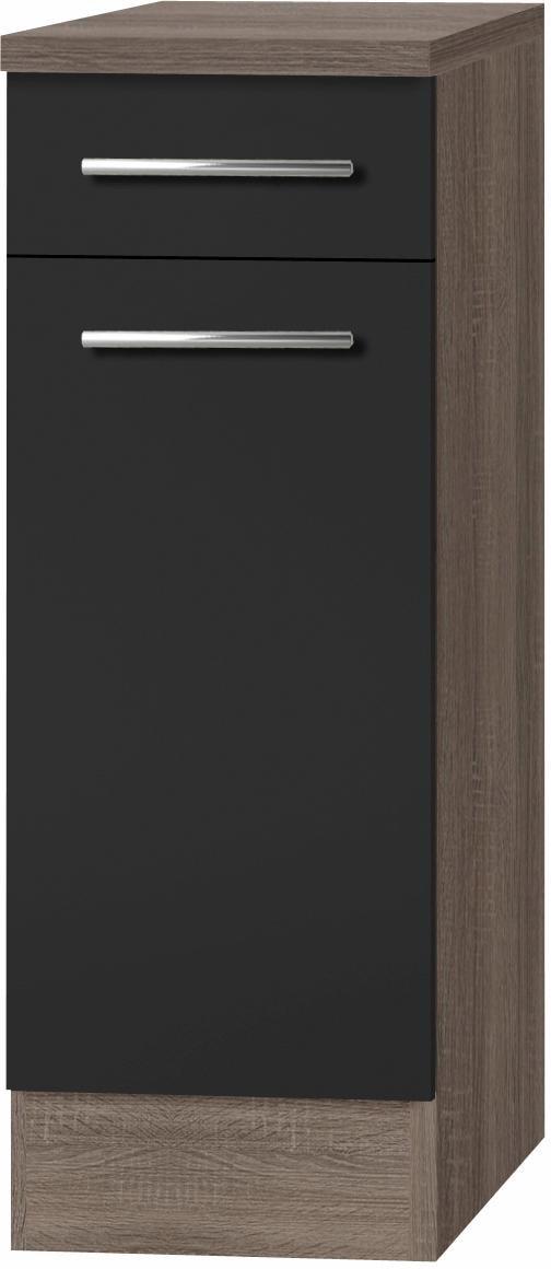 OPTIFIT Unterschrank Korfu Breite 30 cm | Küche und Esszimmer > Küchenschränke > Küchen-Unterschränke | Grau | Edelstahl - Eiche - Melamin | Optifit