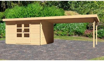 WOODFEELING Set: Gartenhaus »Bastrup 7«, BxT: 775x333 cm, mit Anbaudach kaufen