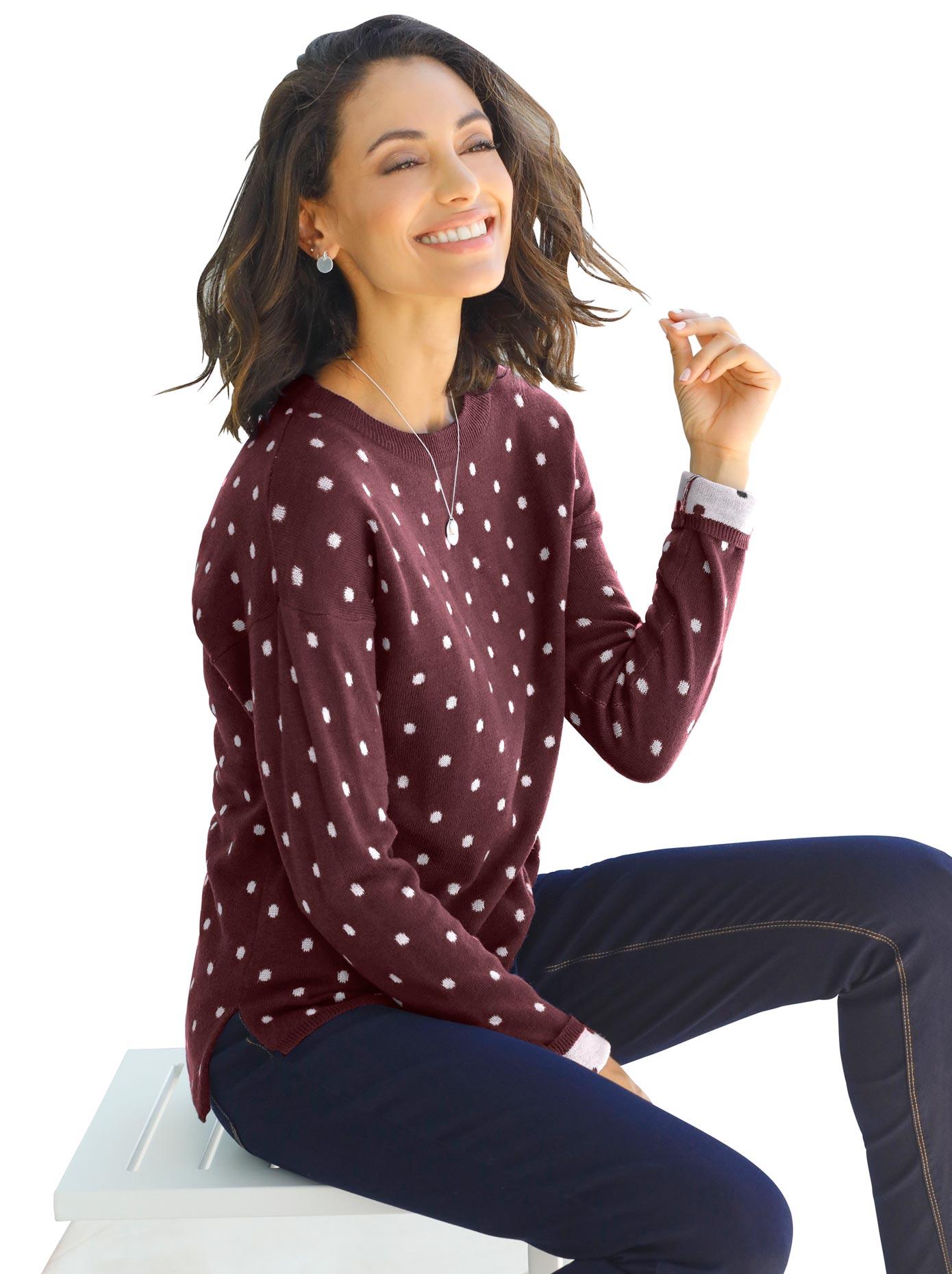 classic inspirationen -  Pullover in hochwertigem Tupfen-Jacquardmuster