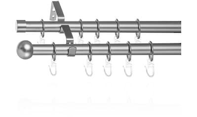 LICHTBLICK Gardinenstange »Gardinenstange Kugel, 20 mm, ausziehbar, 2 läufig 130 - 240 cm Chrom Matt«, 2 läufig-läufig, ausziehbar, Zweiläufige Vorhangstange mit Ringen für Gardinen und Stores. kaufen