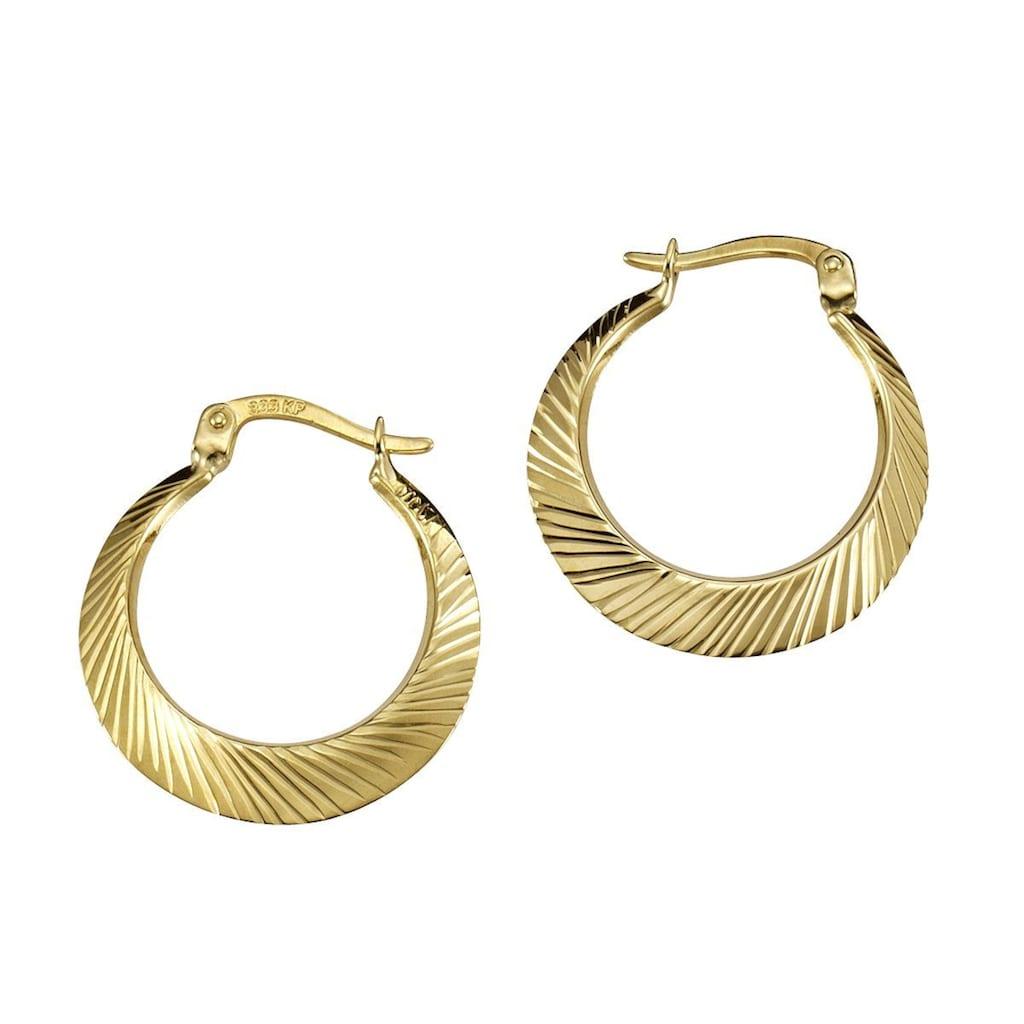 Vivance Paar Creolen »333/- Gelbgold diamantiert 20mm«, Creolen