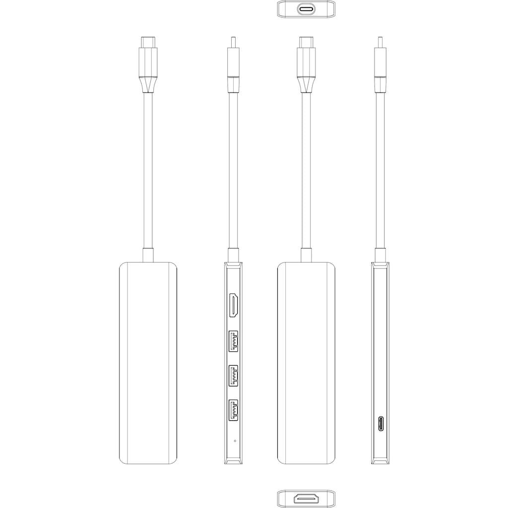 Hyrican Laptop-Dockingstation »ST-T605 Dockingstation Type-C, 1x RJ-45, 3x USB 3.0, 1x HDMI«
