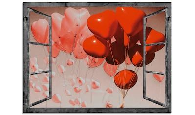 Artland Glasbild »Fensterbild - Rote Herzen«, Fensterblick, (1 St.) kaufen