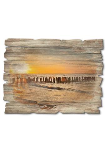 Artland Holzbild »Schöner Sonnenuntergang am Strand«, Strand, (1 St.) kaufen