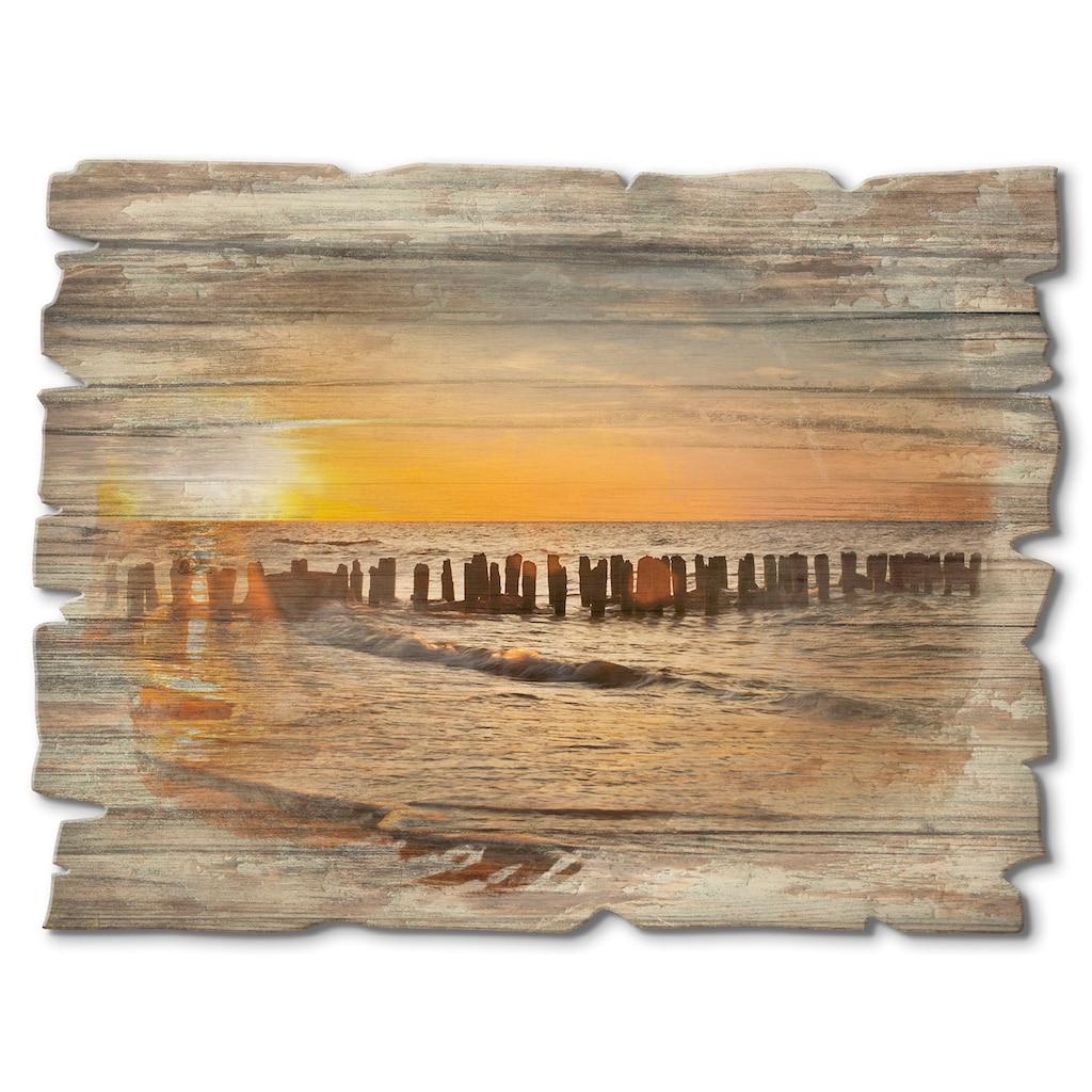 Artland Holzbild »Schöner Sonnenuntergang am Strand«, Strand, (1 St.)