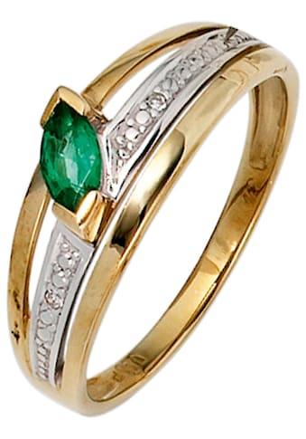 JOBO Diamantring, 585 Gold bicolor mit 2 Diamanten und Smaragd kaufen