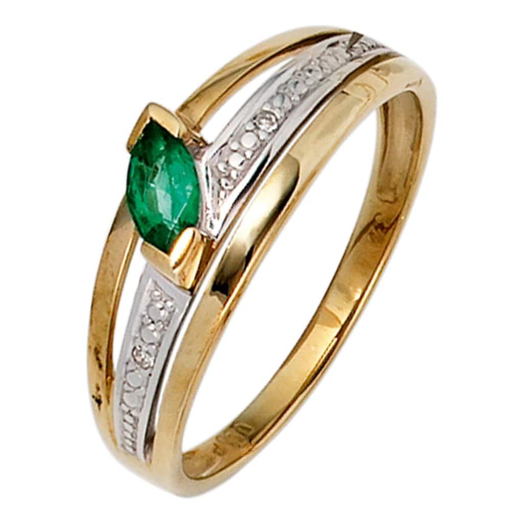 JOBO Diamantring, 585 Gold bicolor mit 2 Diamanten und Smaragd