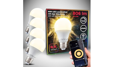B.K.Licht LED-Leuchtmittel, E27, 4 St., Warmweiß, Smart Home LED-Lampe RGB WiFi... kaufen