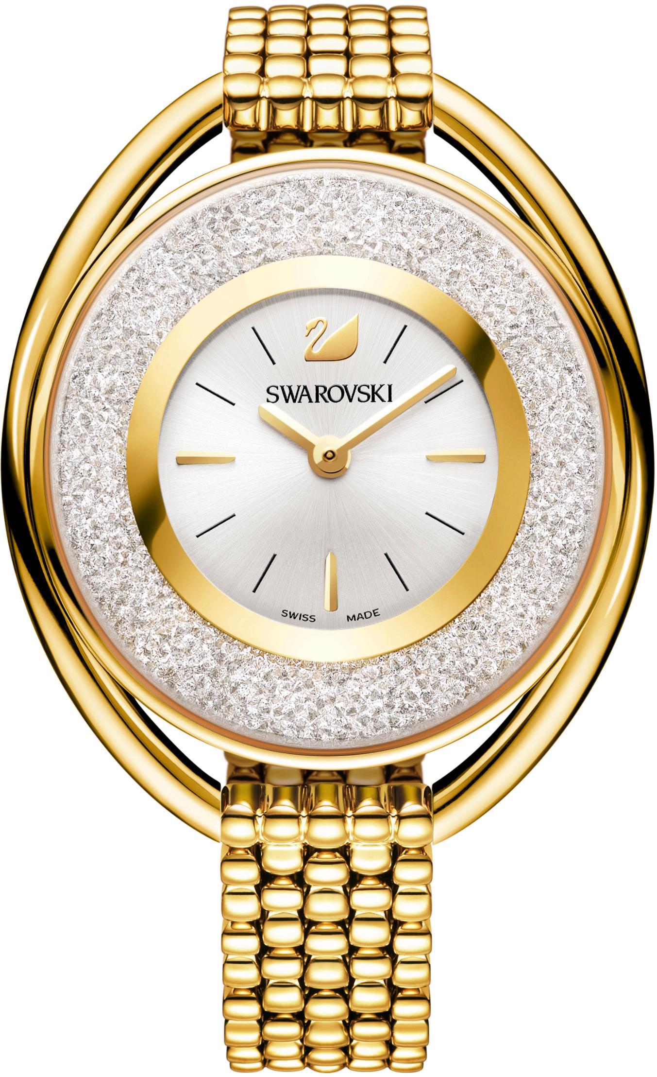 Swarovski Schweizer Uhr Crystalline Oval Uhr Metallarmband weiss goldfarben 5200339   Uhren > Schweizer Uhren   Goldfarben   Swarovski