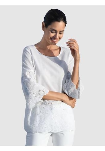 Laura Kent Klassische Bluse, mit Lochstickerei kaufen