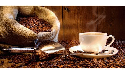 Home affaire Glasbild »S. Cunningham: Kaffeetasse und Leinensack mit Kaffeebohnen«, 60/30 cm kaufen