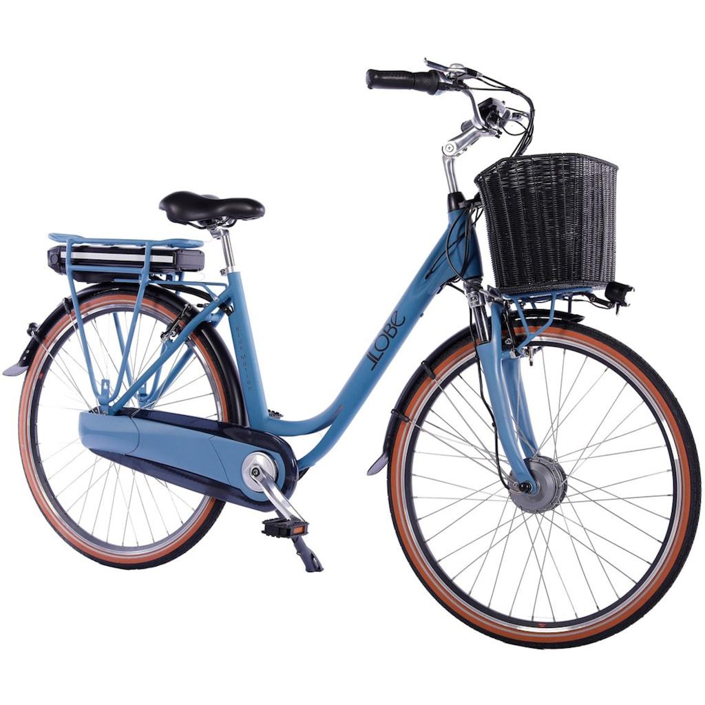 LLobe E-Bike »Blue Motion 2.0, 13,2Ah«, (mit Fahrradkorb)