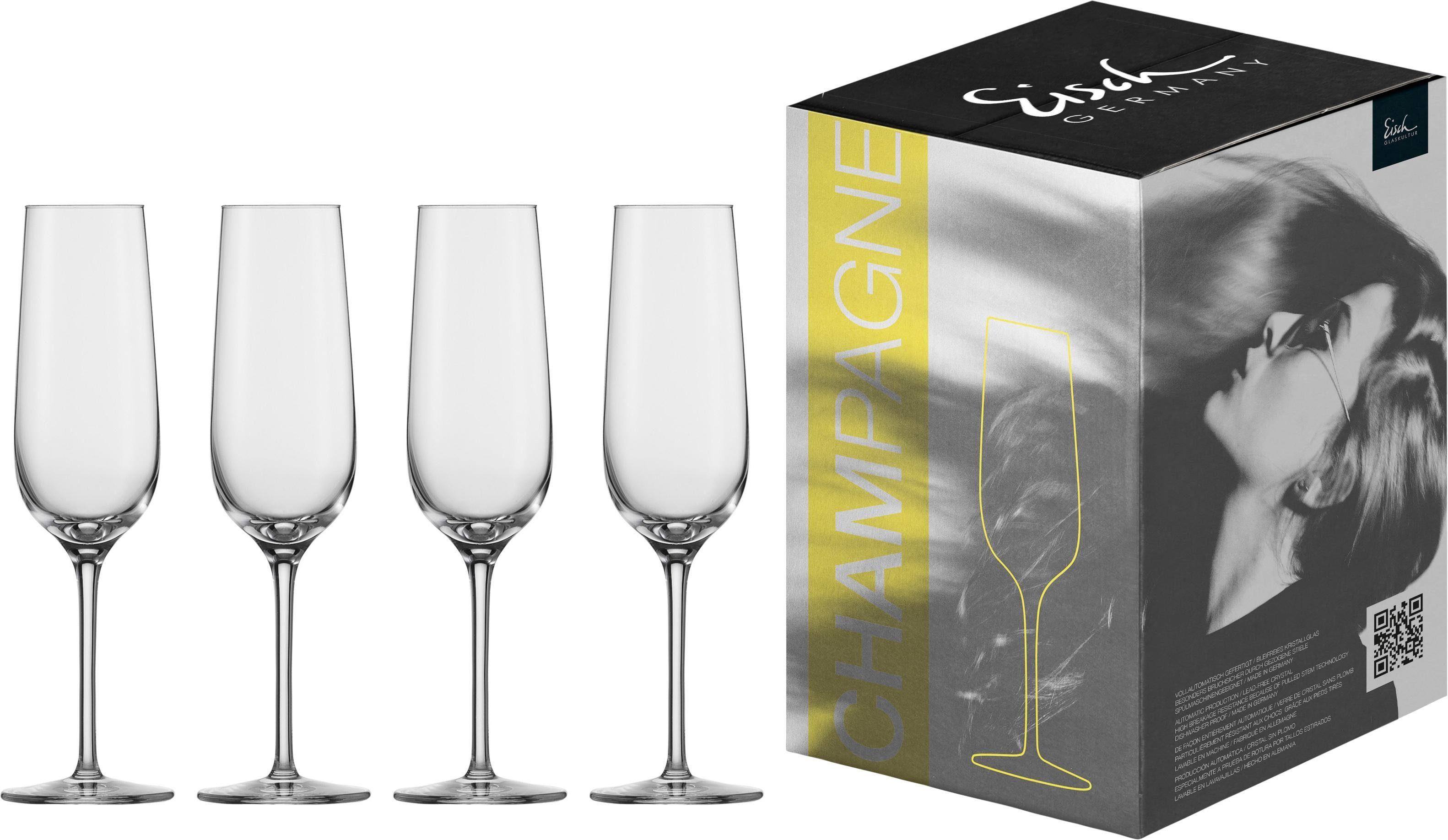 Eisch Sektglas Vinezza, (Set, 4 tlg.), bleifreies Kristallglas, 225 ml farblos Kristallgläser Gläser Glaswaren Haushaltswaren