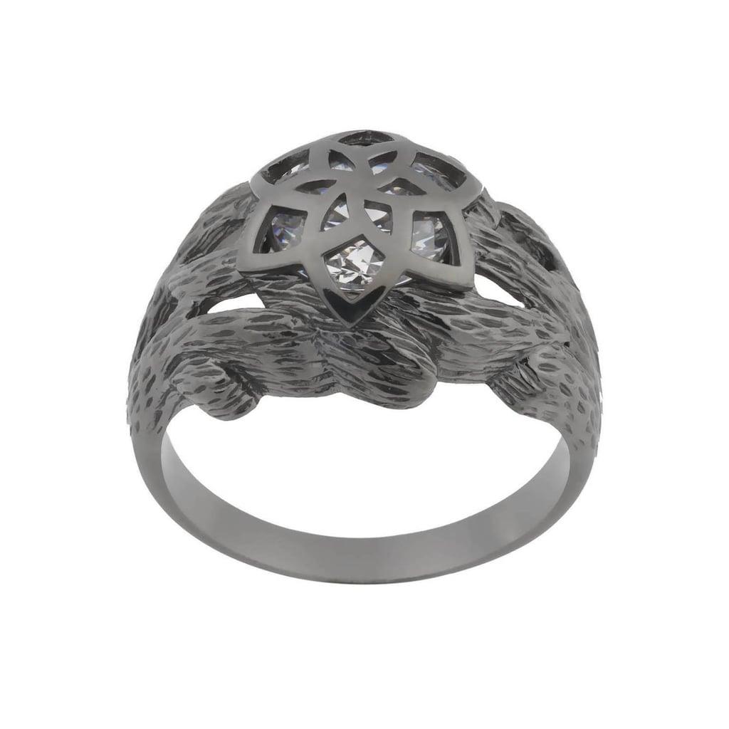 Der Herr der Ringe Fingerring »Dark Years Collection Nenya - Galadriels Ring - schwarz weiß, 20002184«, Made in Germany - mit Zirkonia (synth.)