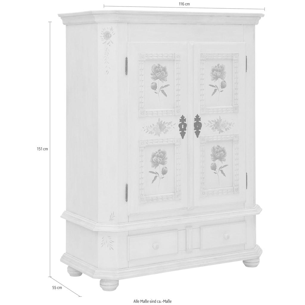 Premium collection by Home affaire Highboard »Taunus«, aus massivem Fichtenholz, mit schönem Blumenmuster auf den Türfronten, Breite 116 cm