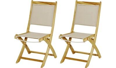 PLOSS Gartenstuhl »Richmond«, (2er Set), klappbar, Teak/Textil kaufen
