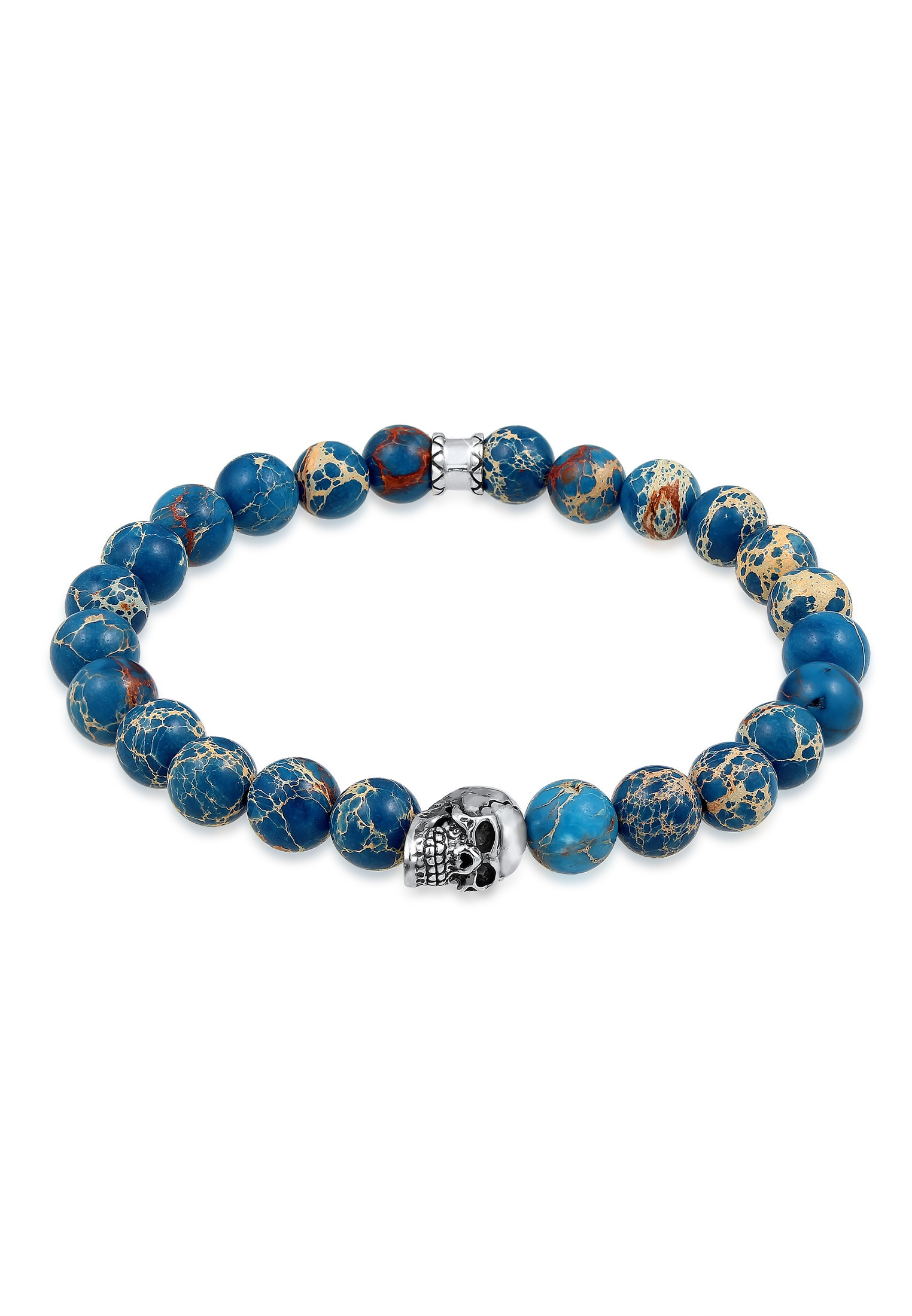 Kuzzoi Armband Herren Blauer Achat Stein mit Totenkopf Silber | Schmuck > Armbänder > Silberarmbänder | Blau | Kuzzoi