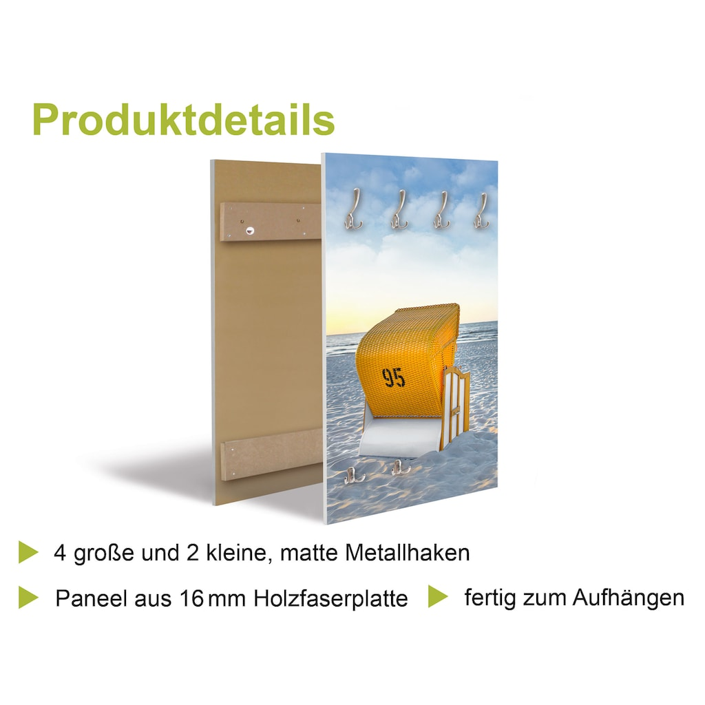 Artland Garderobe »Weg zum Nordseestrand Sonnenuntergang«, platzsparende Wandgarderobe aus Holz mit 6 Haken, geeignet für kleinen, schmalen Flur, Flurgarderobe
