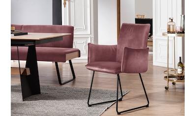 K+W Komfort & Wohnen Kufenstuhl »Deseo II«, Armlehnenstuhl mit Rundrohrkufe in Metall schwarz Struktur kaufen