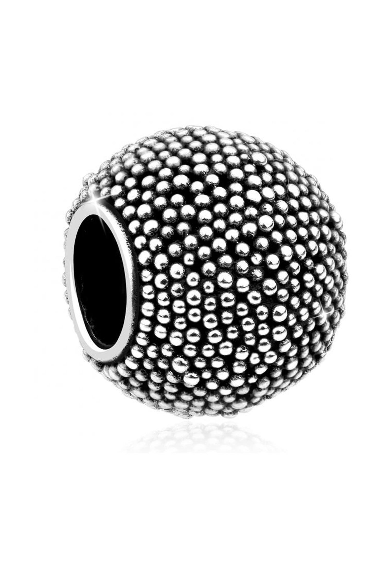 Nenalina Charm-Einhänger Bead Silber-Anhänger Oxid Struktur 925 Silber | Schmuck > Charms > Charms Anhänger | Nenalina