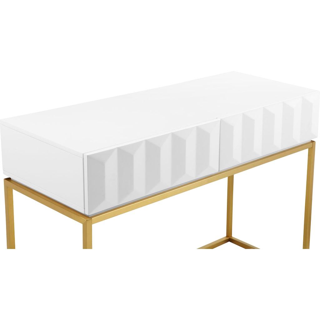 Leonique Konsolentisch »Alais«, in 3D-Optik, mit zwei Schubladen und goldfarbenem Gestell