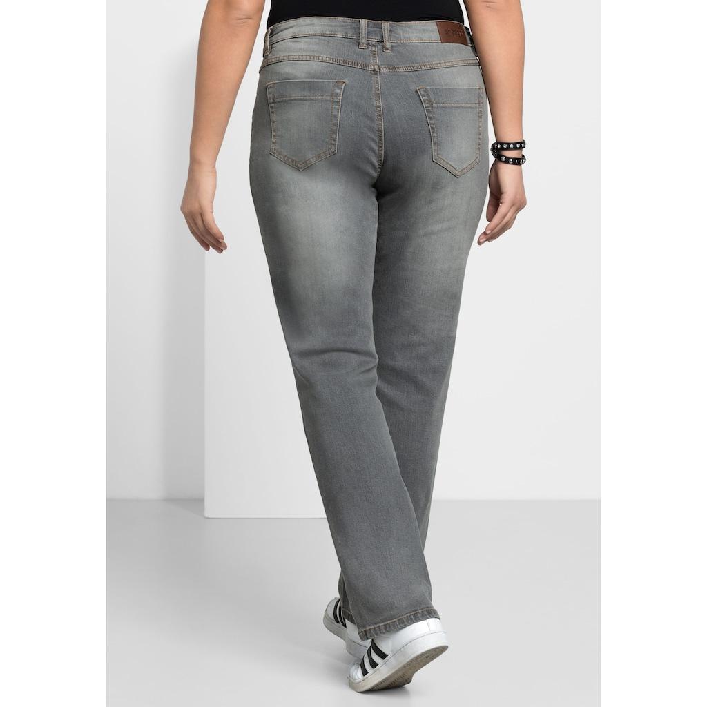 Sheego Stretch-Jeans, LANA mit Used-Effekten