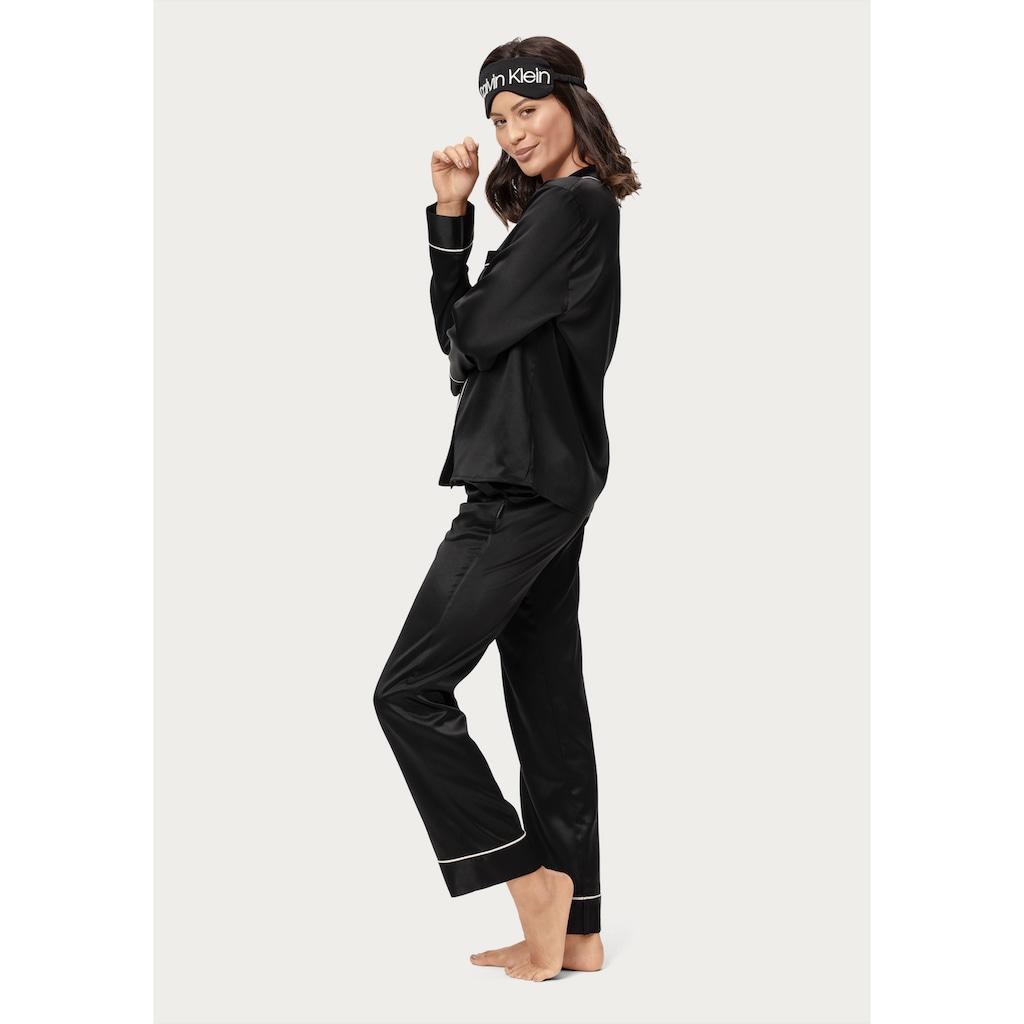 Calvin Klein Pyjama, aus Satin und mit bedruckter Schlafbrille