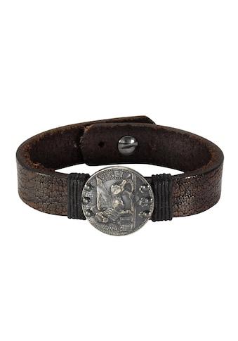 NOX Armband »Leder braun 21cm Münze Edelstahl«, Edelstahl Münze kaufen