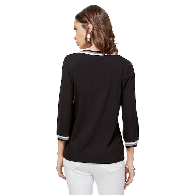 création L Shirt mit gestreiften Bündchen