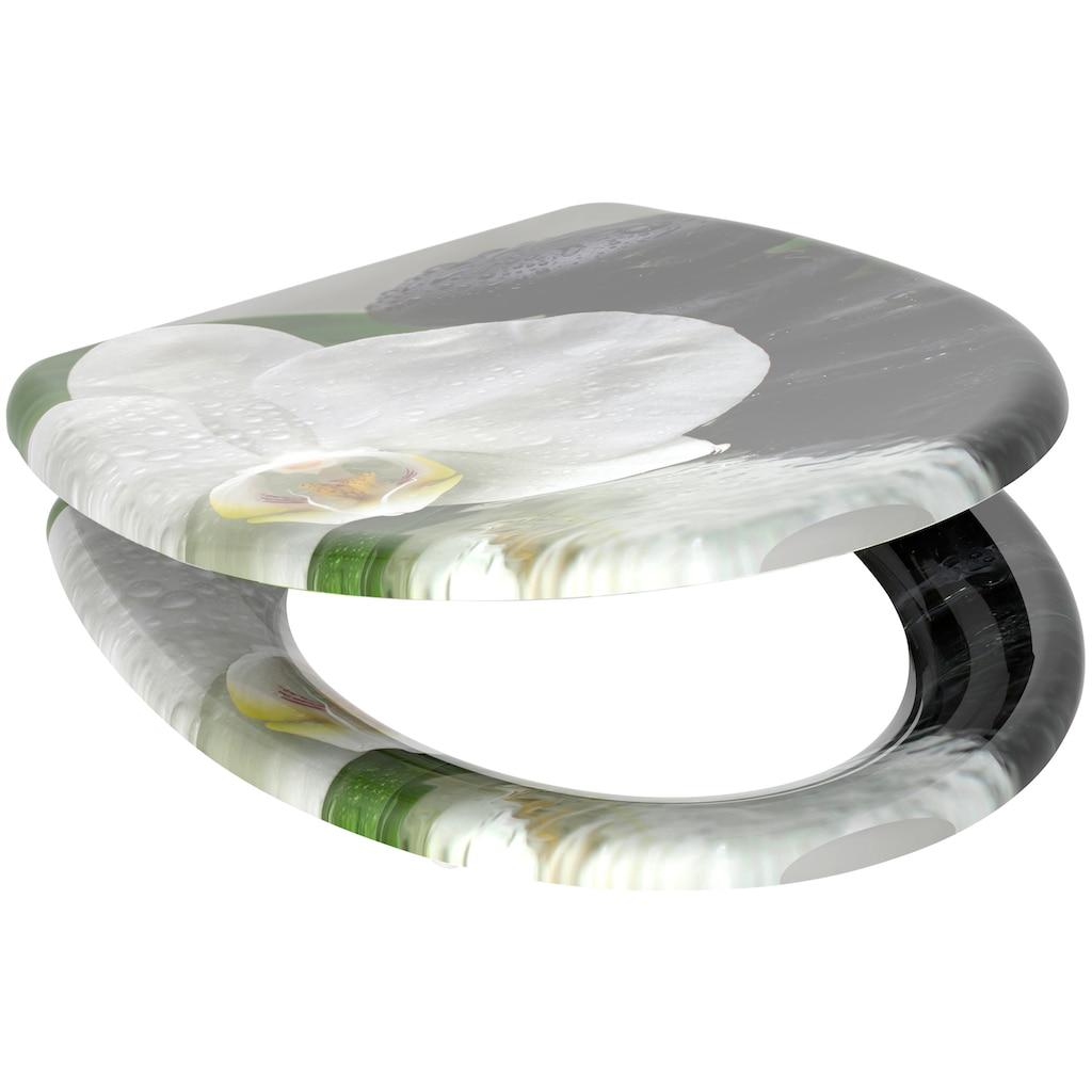 welltime WC-Sitz »White Flower«, hochwertiger abnehmbarer Premium-Toilettendeckel mit Absenkautomatik, Bruchsicher und kratzfest, mit Schnellverschluss, geeignet für alle handelsüblichen WC's, Motiv Orchidee mit Zen-Steinen